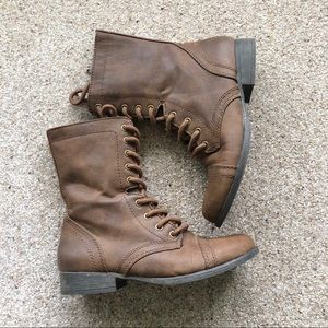 Brown Lace Up Combat Boots Size 7.5